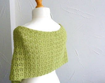 Shawl - wrap - scarf  crocheted lace in milk cotton yarn pistachio lime green summer wear