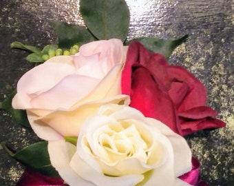 Marsala,blush and ivory corsage