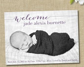birth announcement girl. photo baby announcement