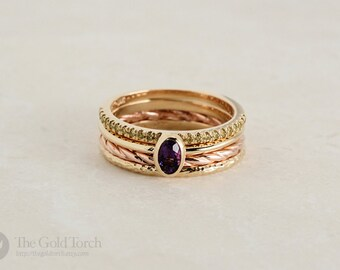 Stacking Ring Set, Four Gold or Platinum Stackable Rings with Yellow Diamonds and Oval Cut Amethyst (Choice of Stone)