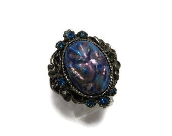 Blue Stone Ring, Carved Stone Ring, Vintage Estate Costume Jewelry, Statement Ring, Antique Style Ring, Unique Gift Idea
