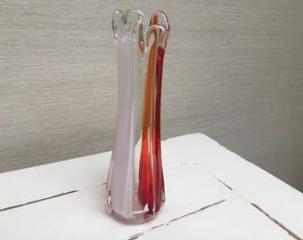 Vintage Glass Stem Vase - Red , White and Clear