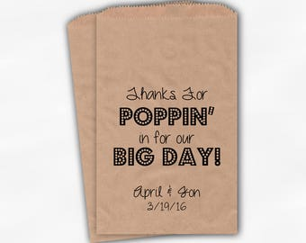 Thanks For Poppin In Big Day Popcorn Bags - Black Custom Candy Buffet Favor Bags for Wedding Birthday Shower - Kraft Paper Treat Bags (0113)