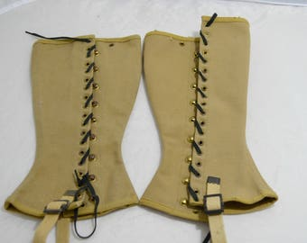 1940's WWII Military Spats, Gaiters, Leggings Made by The Rumley Corporation