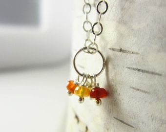Tiny Trio - Shaded Mexican Fire Opal Jewelry - Red Opal Necklace Charms - Orange Opal Stone Jewelry - Add On Charms - Sterling Silver Charms