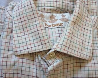 "Barbour Long Sleeve Vintage Button Down Plaid Pocket Shirt Size Large 16.50"" 42"