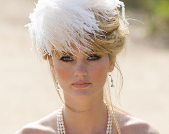 Ivory Feather Fascinator, Wedding Head Piece, Bridal Hair Accessory, Cream Puff, White, Champagne, Any Color, Batcakes Couture