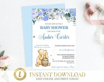 Winnie the Pooh Baby Shower Classic Pooh Baby Shower Pooh Invitation Baby Shower Invite Pooh Bear Pooh Classic Shower Invitation Printable