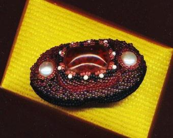 Burgundy Garnet Glass Brooch . Red Wine Brooch . Genuine Pearl Brooch . Beaded Beadwoven- January Birthstone Brooch by enchantedbeas on Etsy