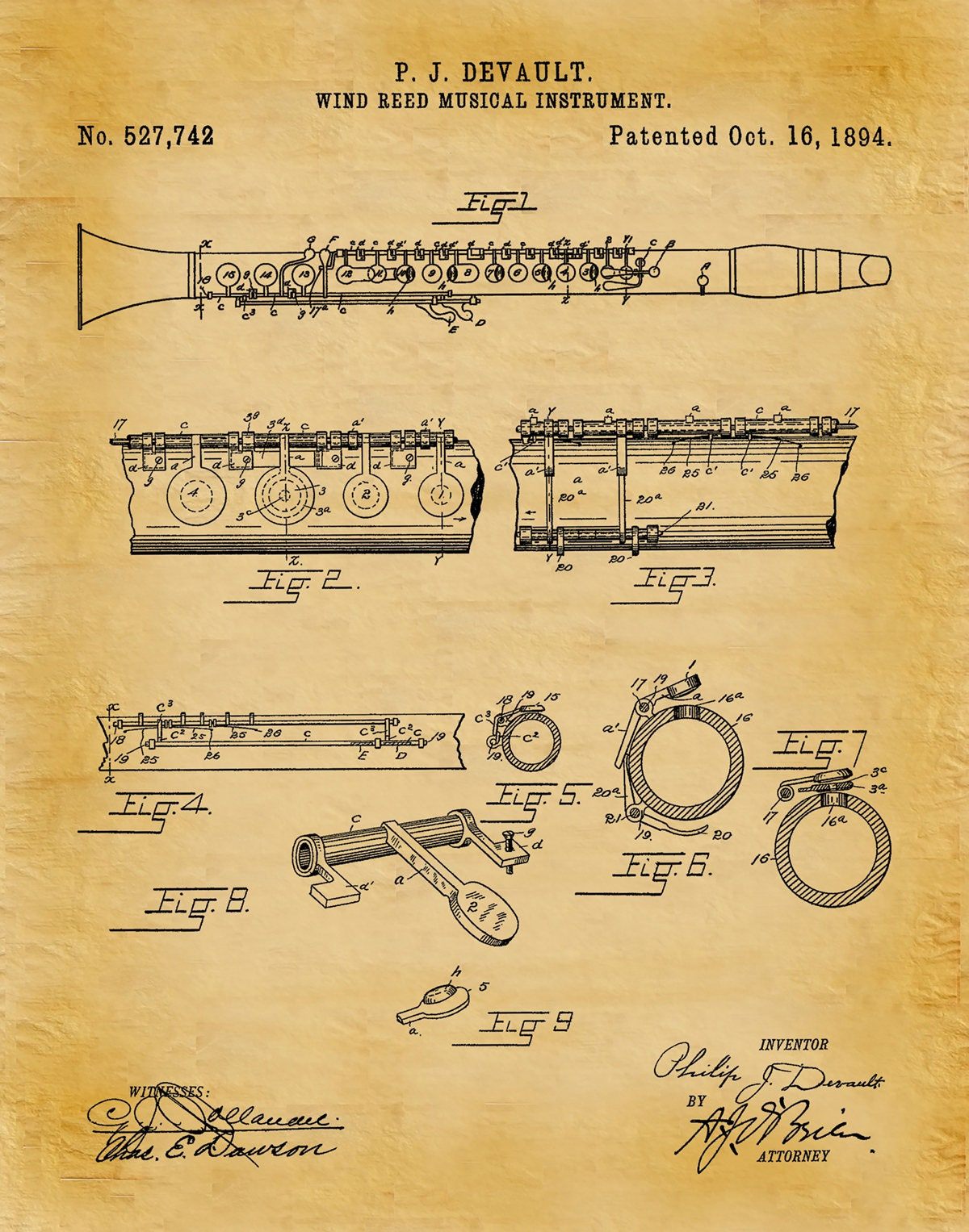 1894 Clarinet Patent Print - Musical Instrument - Wind Reed ...