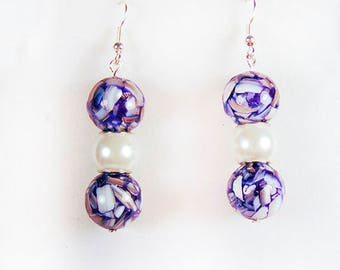 PURPLE BEAD EARRINGS, purple earrings, purple jewelry, purple-white beads, glass beads, white bead, white earrings, white jewelry - 1845