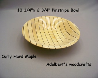 "10 3/4"" Pinstripe Wooden Bowl.  Shipped by priority mail 2 to 3 days delivery."