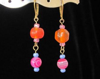 Pink Agate and Orange Lampwork Bead Earrings