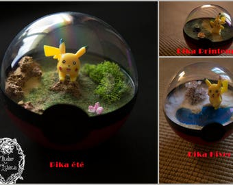 Terrarium Pokeball - Pokemon Pikachu four seasons - diameter 12 cm