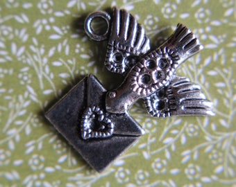 Antique Silver Tone Flying Birds with Love Letters x 10 - Bird with Envelope, Valentine, Love Letter, Heart