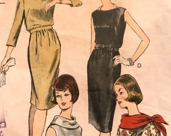 Vintage Sheath Dress With Or Without Cowl Collar---Vogue 6220---Size 12  Bust 32