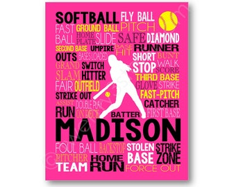Softball Batter Typography Poster, Custom Softball Player Art, Softball Team Gift, Softball Coach Art, Softball Poster, Softball Canvas