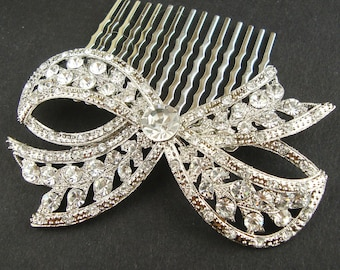 Crystal Bow Bridal Comb,  Wedding Hair Comb, Vintage Bridal Hair Accessories, Art Deco Hair Comb, Bow Comb, Silver Bow, LOLA