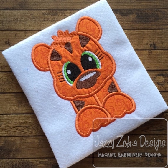 Tiger 105 Appliqué Embroidery Design - tiger applique design - zoo applique design - safari applique design