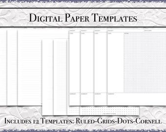 Digital Paper Bundle   US Letter Size   Printable PDF  DigiBujo College Wide Grids Dots Cornell Notes GoodNotes Template