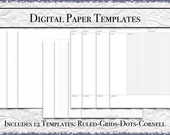 Digital Paper Bundle | US Letter Size | Printable PDF |DigiBujo|College|Wide