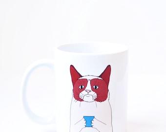 Grumpy cat mug -  christmas present holiday xmas secret santa stocking stuffer gift white 11oz coffee mug latte cup cat cute gift