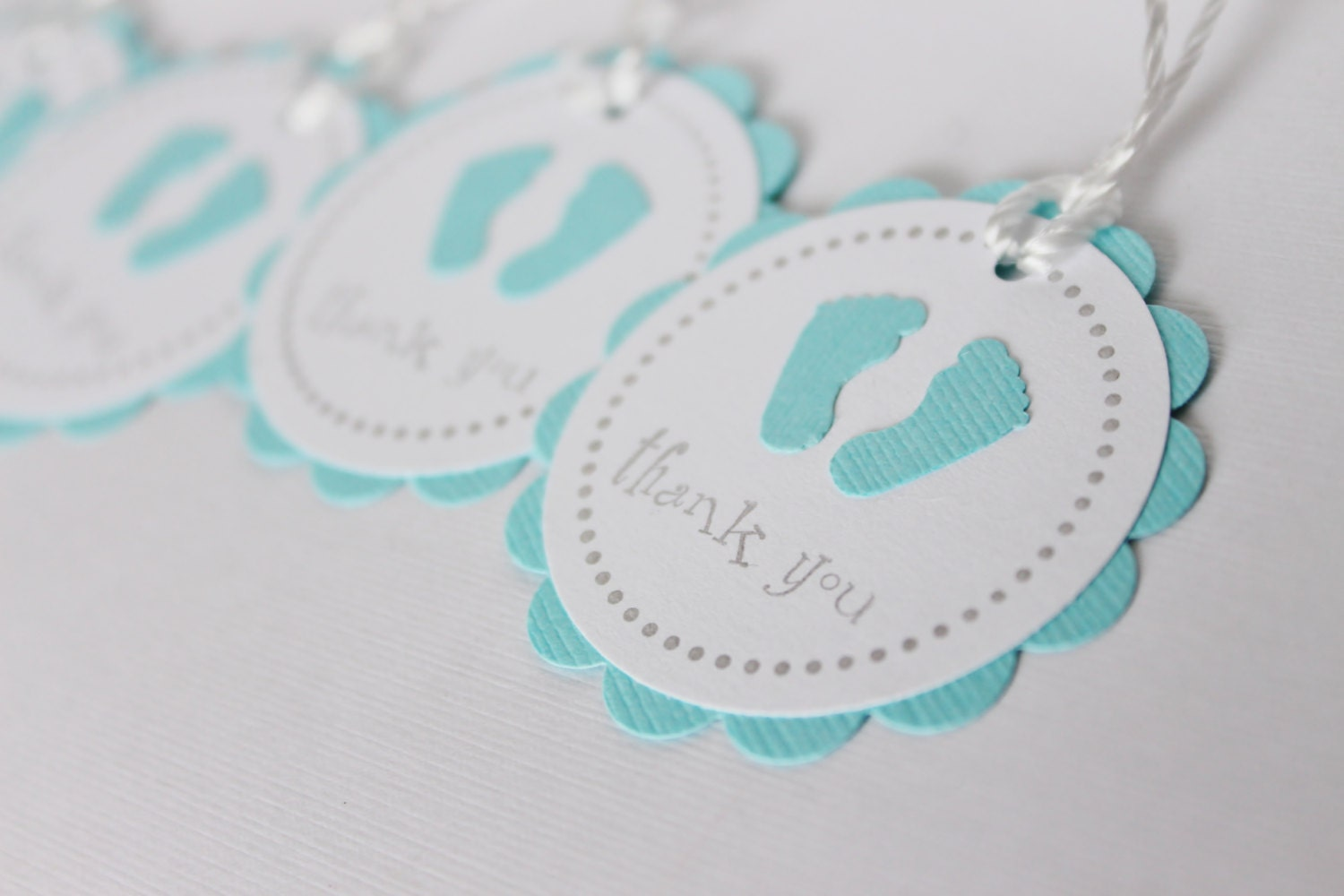 Baby shower favor tags baby feet thank you tags blue zoom negle Image collections