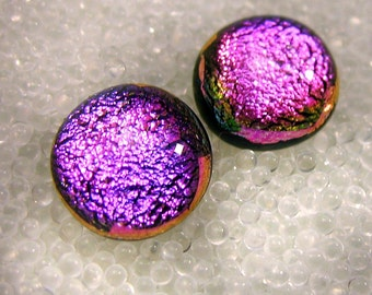 Dichroic Glass Earring, Sparkling Bright Magenta Cha Cha Pink, Fused Glass Stud, Post Earrings, Nickle Free, Hypoallergenic