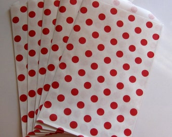 """Set of 10 Red and White Polka Dot Design Middy Bitty Bags (5"""" x 7.5"""")"""