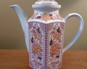 Mid-century Ridgway CANTERBURY red multi-color hexagonal tea or coffee pot