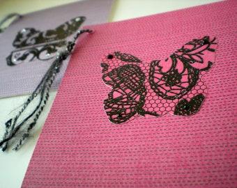 Butterfly 2-Card Set Stationery Handmade OOAK Bright Pink Purple Fuchsia Lavender Black
