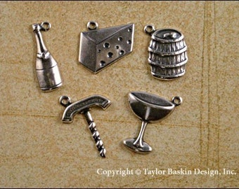Antique Sterling Silver Plated Wine and Cheese Charms Mixed Lot - 70 pieces