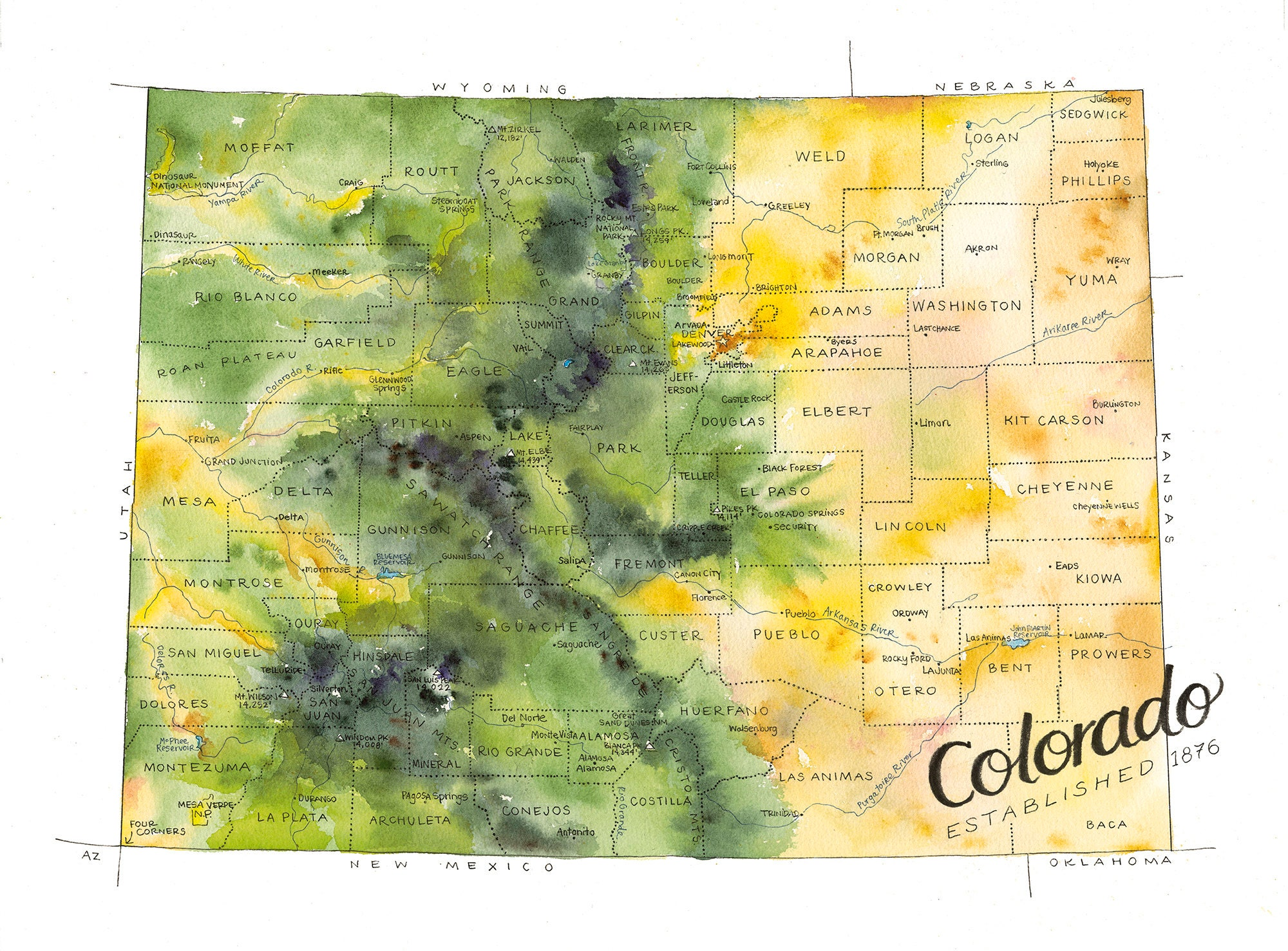 Colorado State Map Watercolor Illustration CO Map County Map