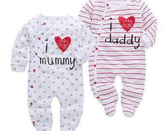 Baby Romper Love Daddy and Mummy, Baby Boy Romper, Baby Girl Romper