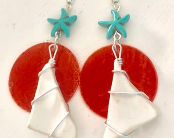 Sea glass earrings - sea pottery - beach glass - one of a kind - beach jewelry - seaside - ocean - resort vacation