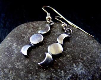 Silver Crescent Moon Triple moon dangle earrings , moon drop earrings