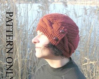 Knitting Pattern   Womens Instant Download  hat patternwinter knitting  Downloadable Pattern   Womens Hat  Fall Fashion   Cloche Hat Pattern