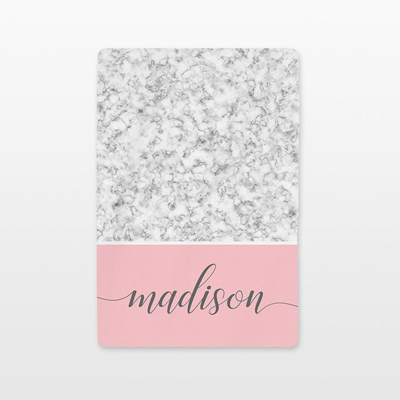 Marble Personalized Baby Blanket Custom Name Baby Girl Throw Plush Minky Soft Fleece Unique New Baby Gift Idea Modern Trendy White Gray Pink