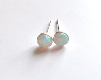 opal,  opal stud earrings, opal studs,  natural opal small sterling silver post 4mm