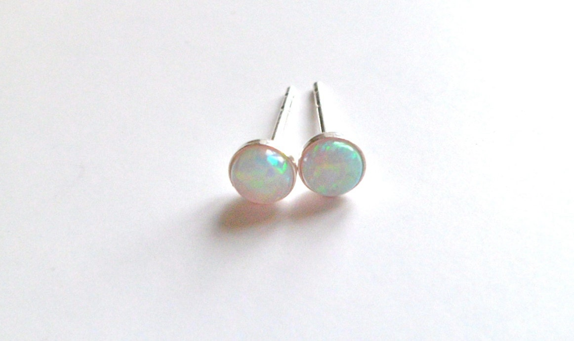 pierced vintage sterling piercing earrings opal pin silver stud real
