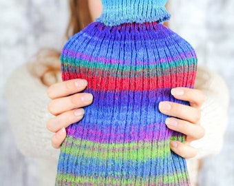 Large HOT WATER Bottle gift set - Rustic Winter Comfort - Rainbow Hand knitted OOAK hot water bottle -  Cosy Winter comfort - Hygge decor