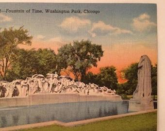 ON SALE Chicago Illinois IL Fountain of Time Washington Park Old Vintage 1940's Linen Postcard