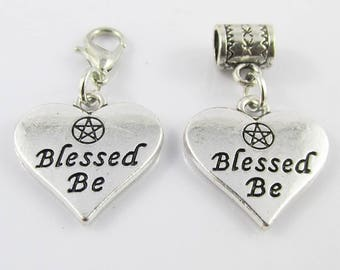 Pentagram Blessed Be Heart Charm Select European Charm or Clip on