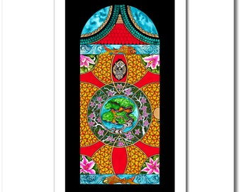 """Fine Art India Ink Painting - Limited Edition - """"Stained Glass"""" Collection - """"Asian Door"""" - 12x20 Giclee Print"""
