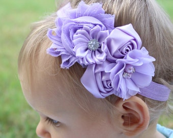 Lavender headband, baby girls headband, purple toddler headband, girls elastic headband, lavender flower girl headband, lavender flowers