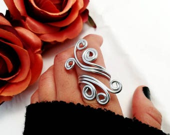 Adjustable ring, spiral ring, Wire ring for her, aluminum woman jewelry, bohemian jewelry for her
