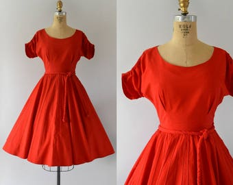 1950s Vintage Dress  - 50s Red Cotton Dress - Small