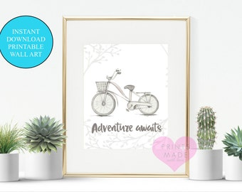 "Bicycle printable, adventure awaits , wall art, digital download, hot air balloon,  8"" x 10"" instant download"