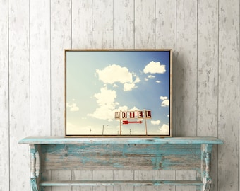 "Bright Wall Art, Colorful Prints, Vintage Sign, Red, Rustic Signs, Cloud Print, Printable Wall Art, Digital Download, Sky ""Hotel Motel II"""