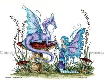 8X10 Companions dragon fairy PRINT by Amy Brown